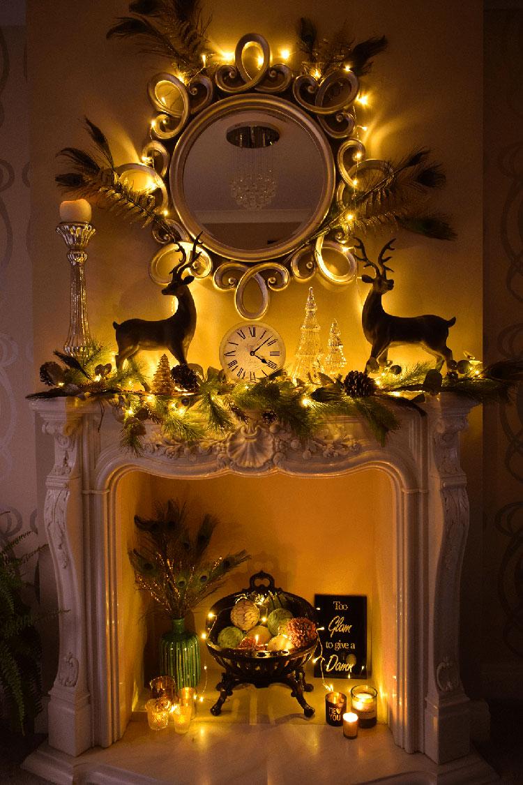 Idee per decorazioni natalizie per il camino fai da te n.03