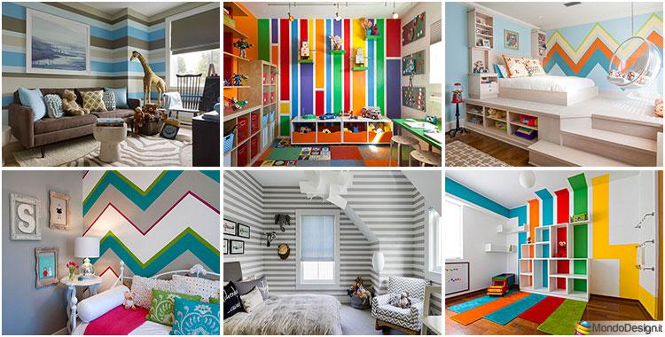 Idee pareti a righe per camerette