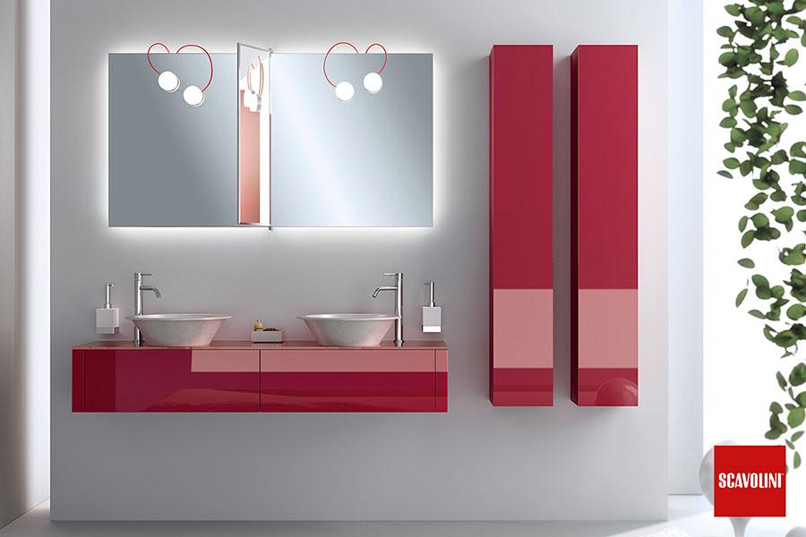Modello di mobile bagno rosso 01