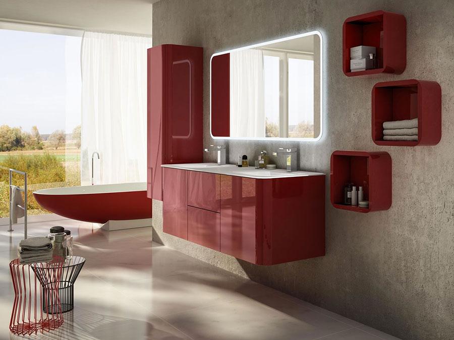 Modello di mobile bagno rosso 03
