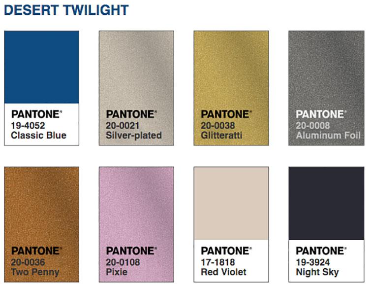 Abbinamenti colore Classic Blue Desert Twilight