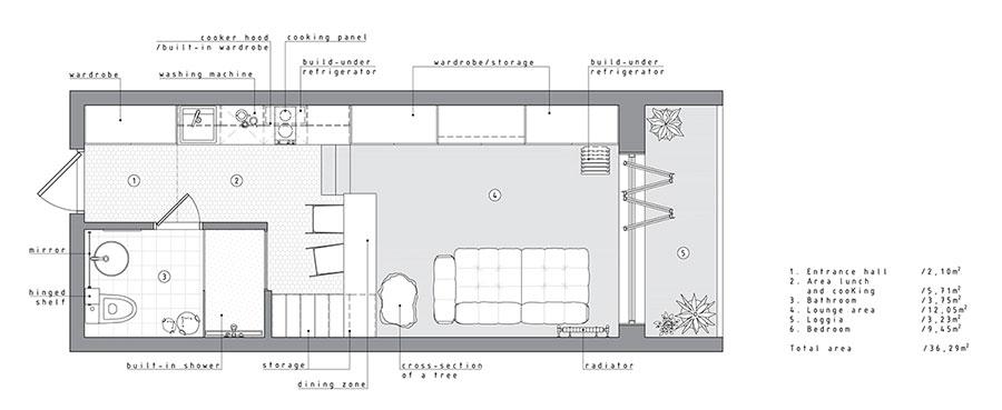 Idee per arredare un monolocale di 35 mq n.07