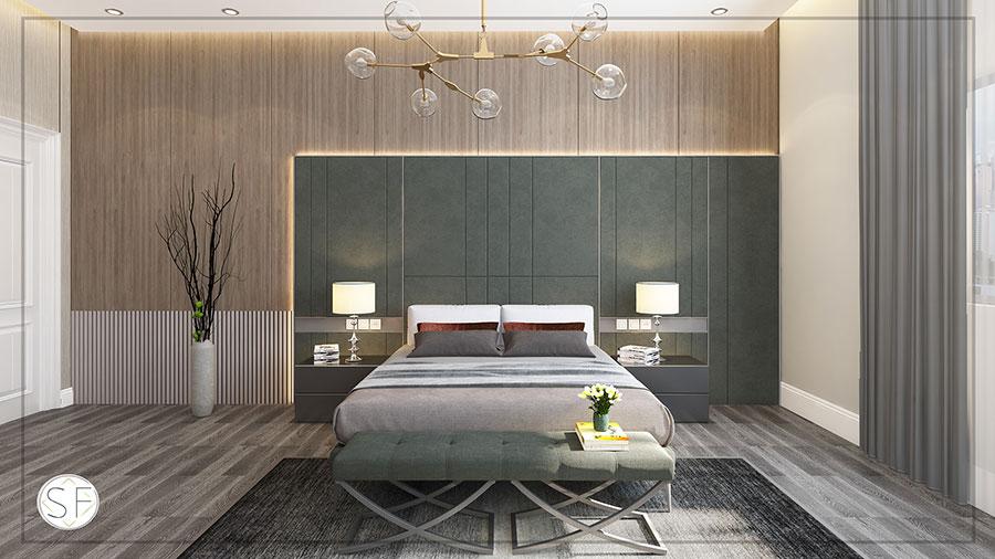 Idee per boiserie per camera da letto moderna n.08