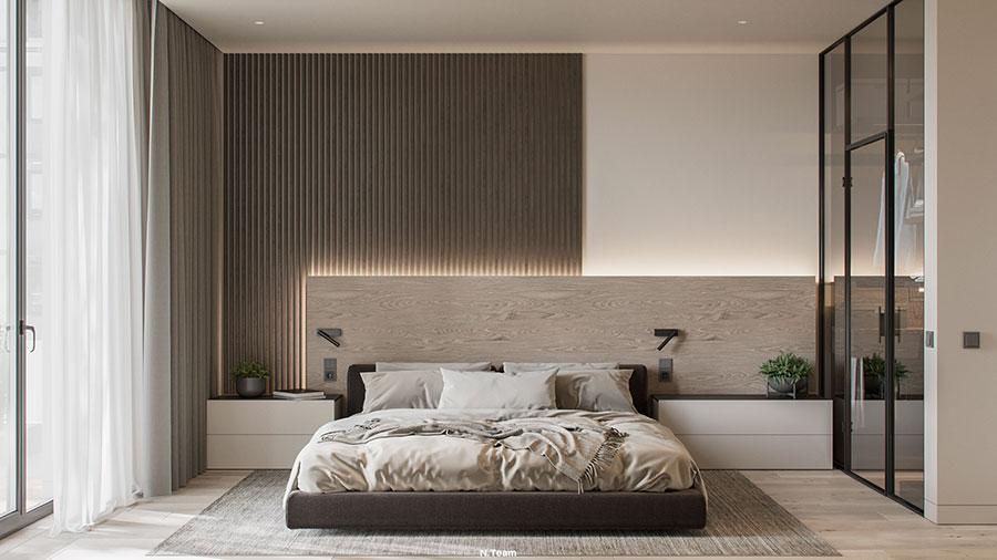 Idee per boiserie per camera da letto moderna n.14