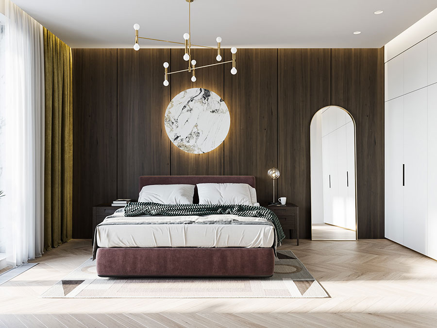 Idee per boiserie per camera da letto moderna n.16