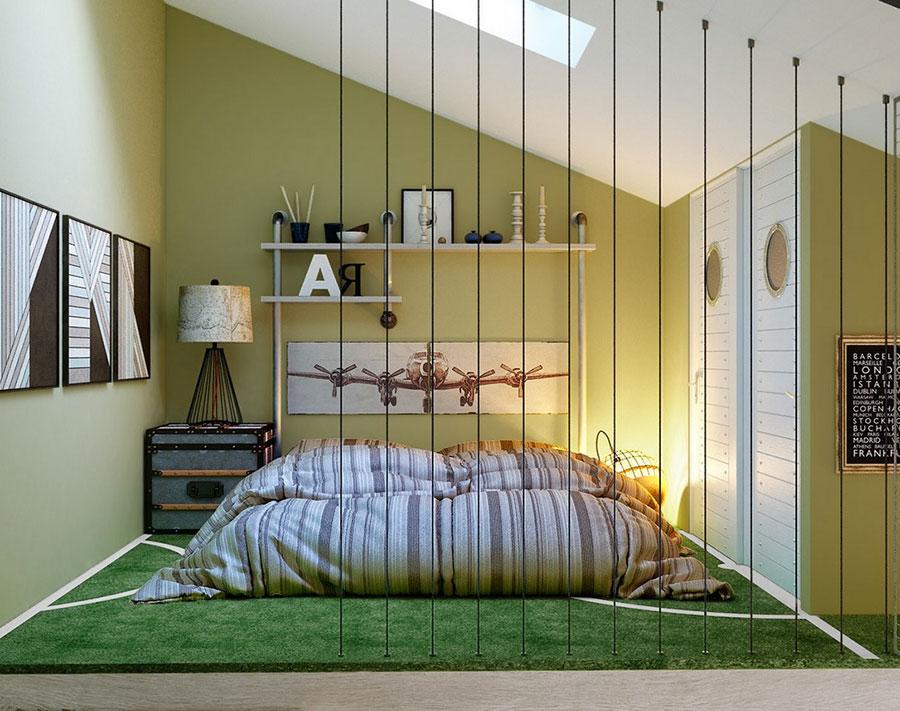 Idee per arredare e decorare una cameretta verde e bianca n.01