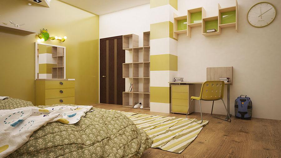 Idee per arredare e decorare una cameretta verde e bianca n.02