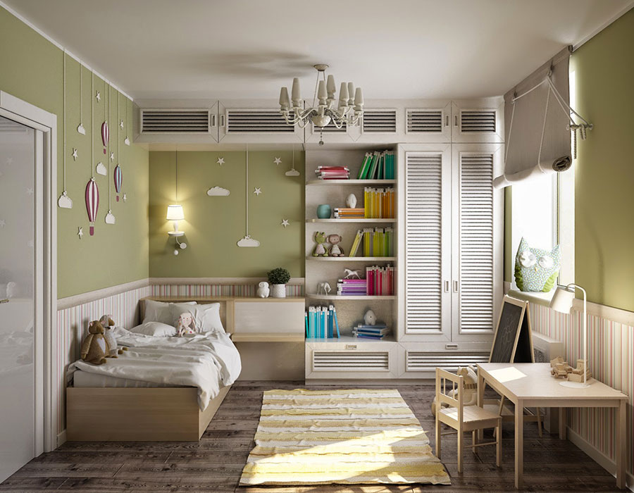 Idee per arredare e decorare una cameretta verde e bianca n.03