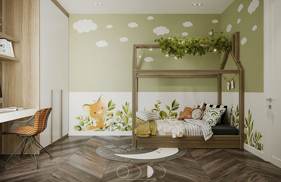 Idee per arredare e decorare una cameretta verde e bianca n.04