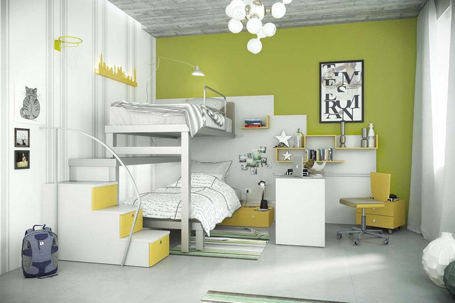 Idee per arredare e decorare una cameretta verde e bianca n.05