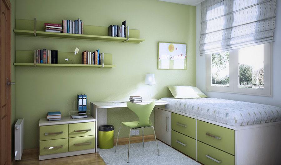Idee per arredare e decorare una cameretta verde e bianca n.06