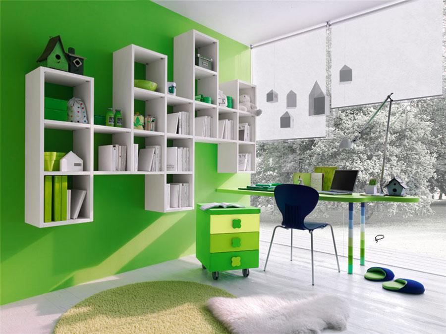 Idee per arredare e decorare una cameretta verde e bianca n.09