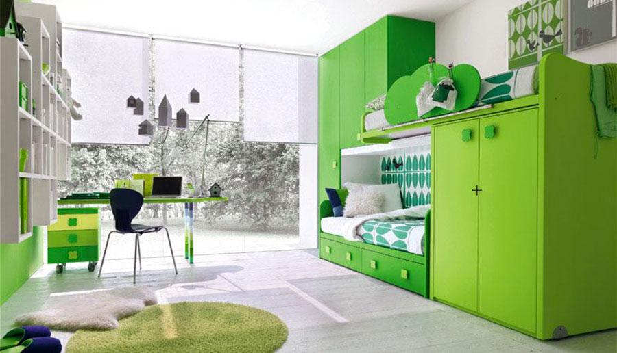Idee per arredare e decorare una cameretta verde mela n.01
