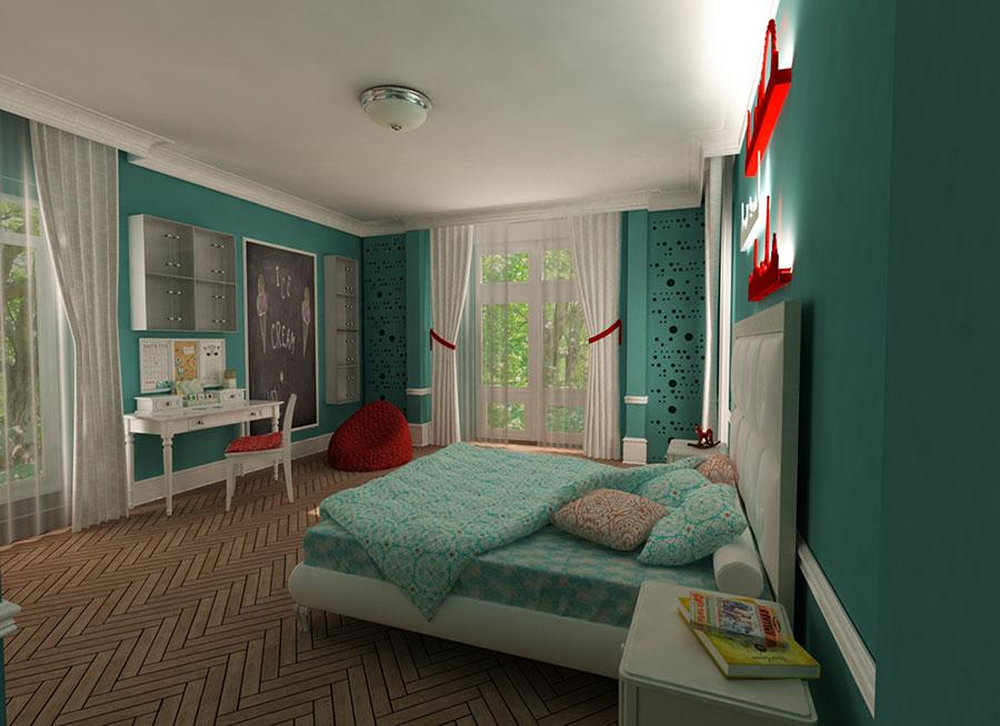 Idee per arredare e decorare una cameretta verde acqua n.01