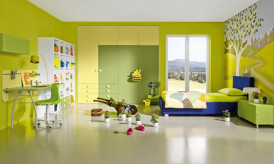 Idee per arredare e decorare una cameretta verde e gialla n.01