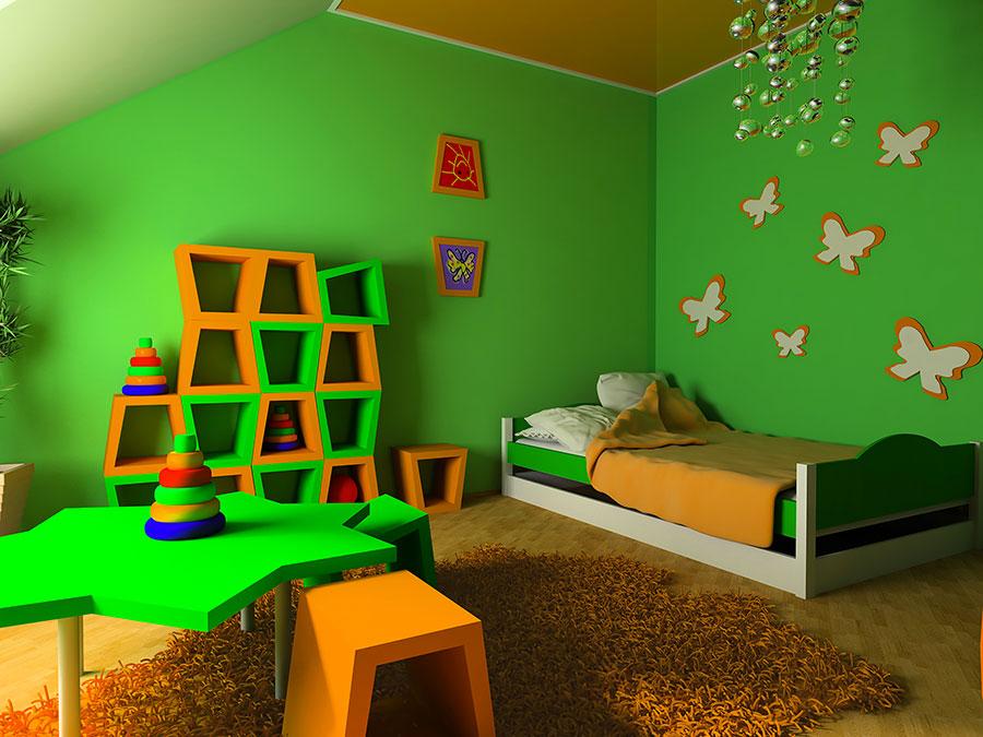 Idee per arredare e decorare una cameretta verde e arancione n.03