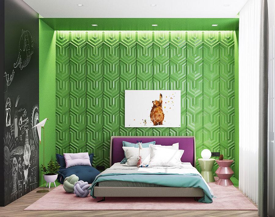 Idee per arredare e decorare una cameretta verde e viola n.02