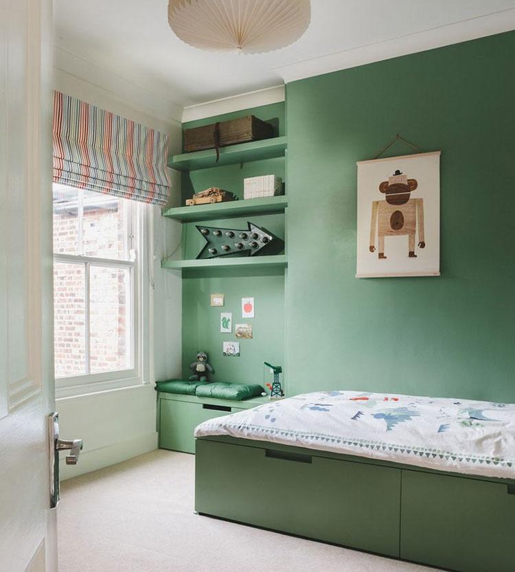 Idee per arredare e decorare una cameretta verde scuro n.01