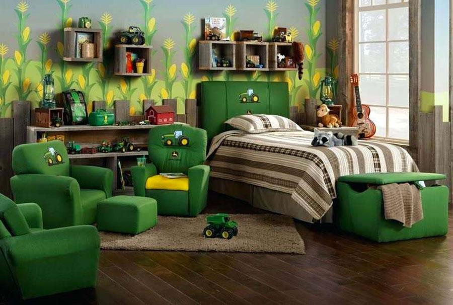 Idee per arredare e decorare una cameretta verde scuro n.03