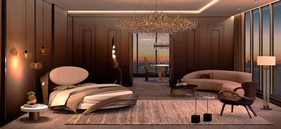 Idee per il lampadario in una camera da letto moderna n.16