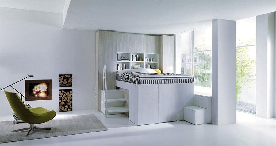 Modello di letto a soppalco matrimoniale con armadio n.01
