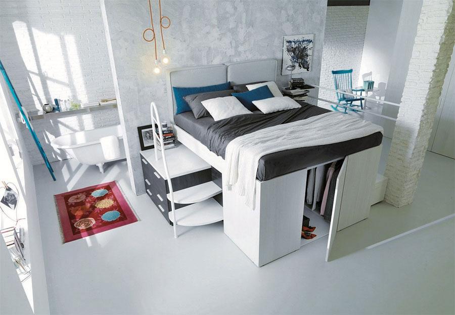 Modello di letto a soppalco matrimoniale con armadio n.02