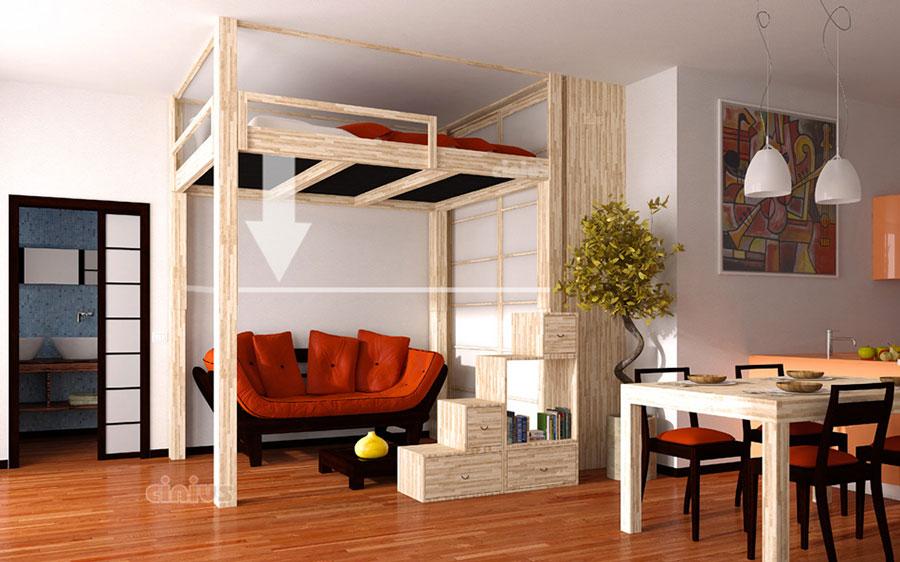 Modello di letto a soppalco matrimoniale di Cinus n.01