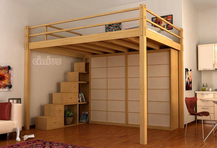 Modello di letto a soppalco matrimoniale di Cinus n.06