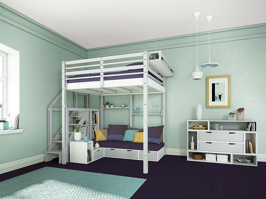 Modello di letto a soppalco matrimoniale di Espace Loggia n.02