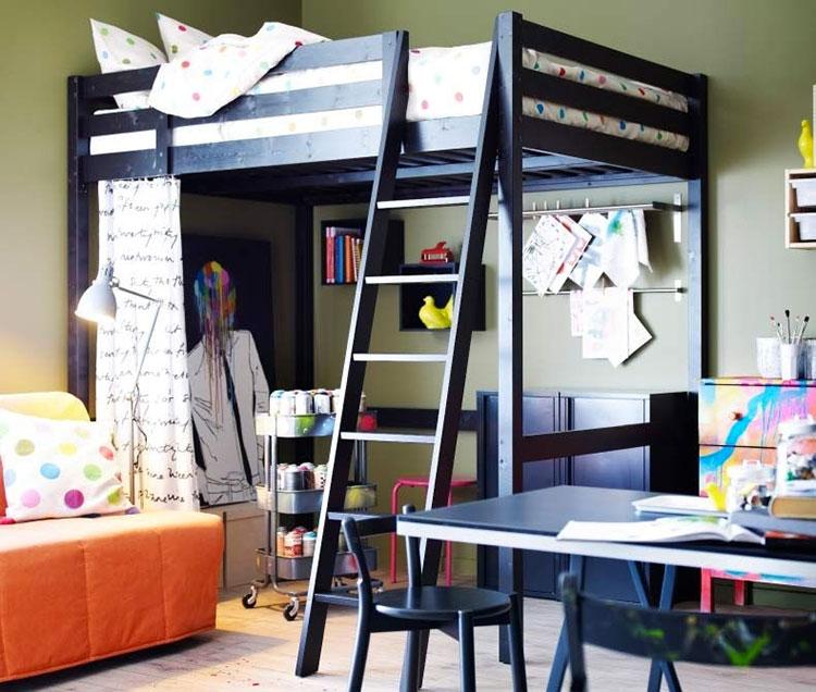 Modello di letto a soppalco matrimoniale Ikea n.03