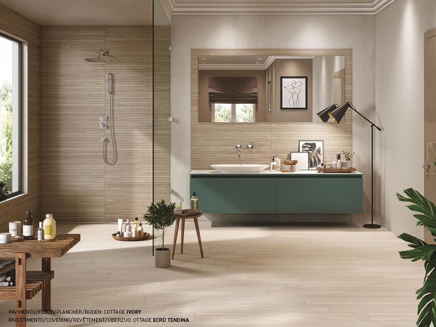 Idee per un bagno tortora e beige n.03