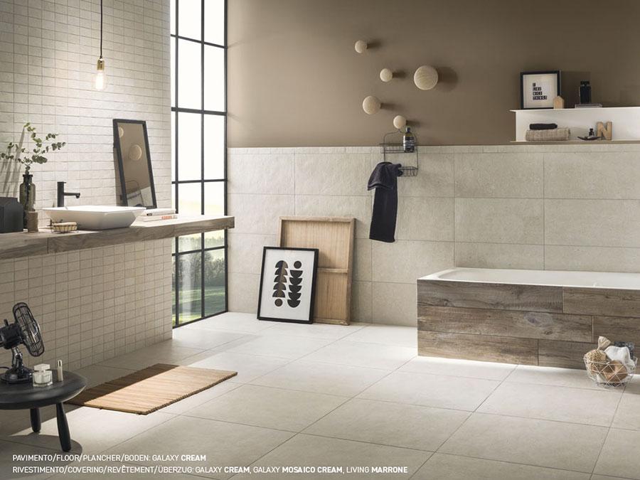 Idee per un bagno tortora e beige n.04