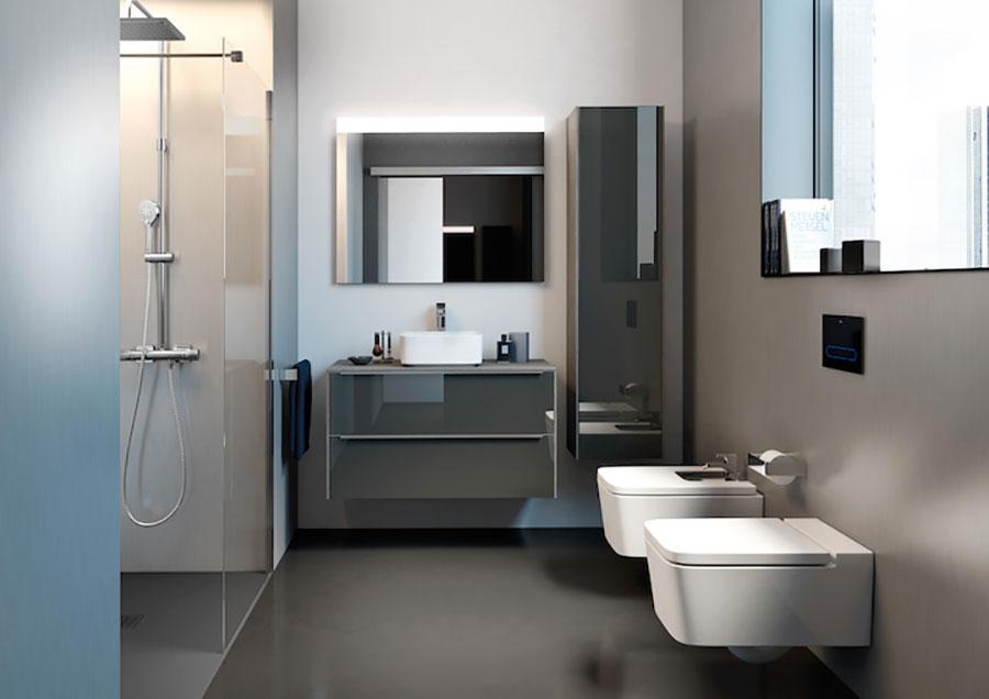 Idee per un bagno tortora e blu n.03