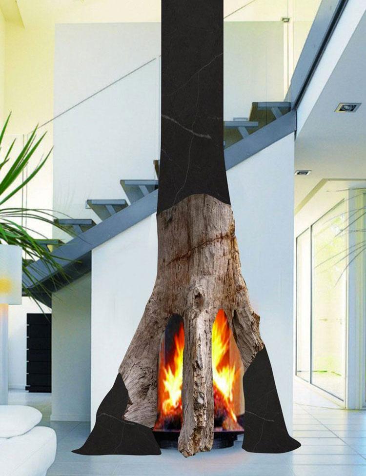 Modello di camino a legna con focolare aperto n.02