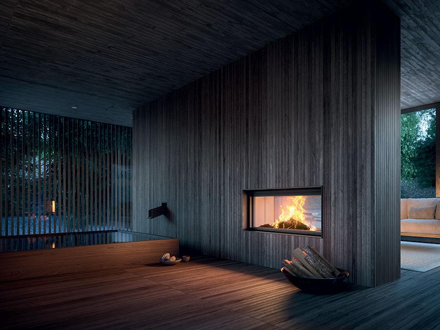 Modello di camino a legna con focolare chiuso in vetro n.02