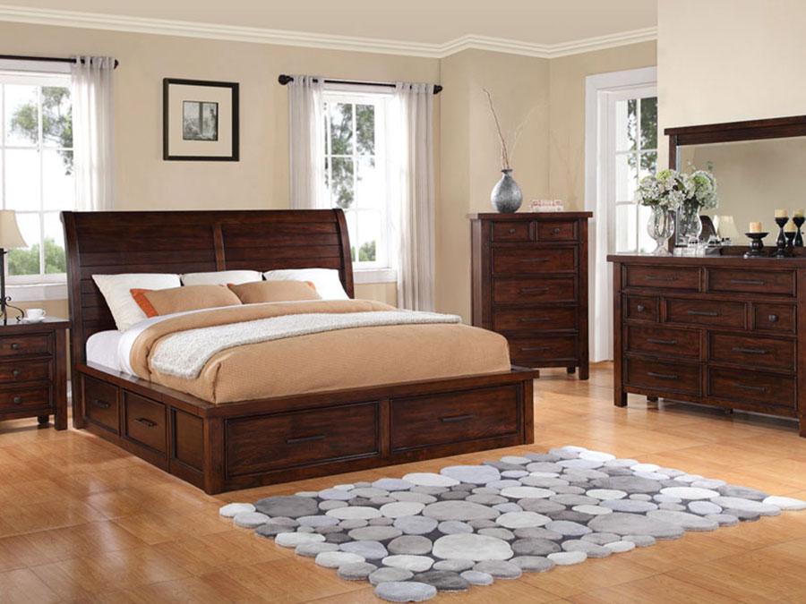 Idee per pareti beige per camera da letto con mobili scuri n.02
