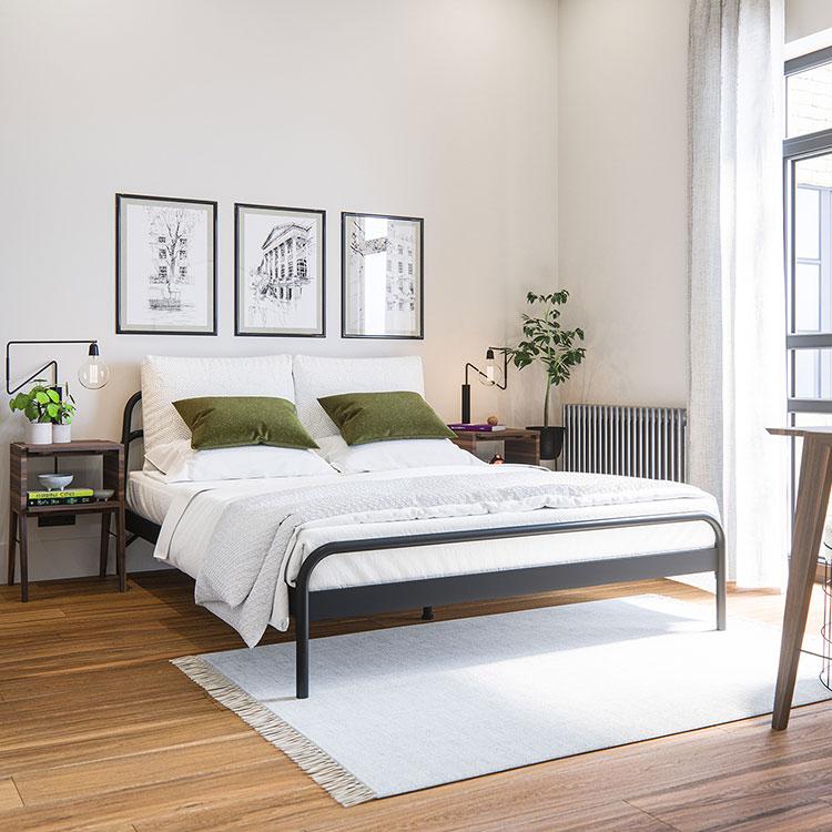Idee per pareti bianche per camera da letto con mobili scuri n.01