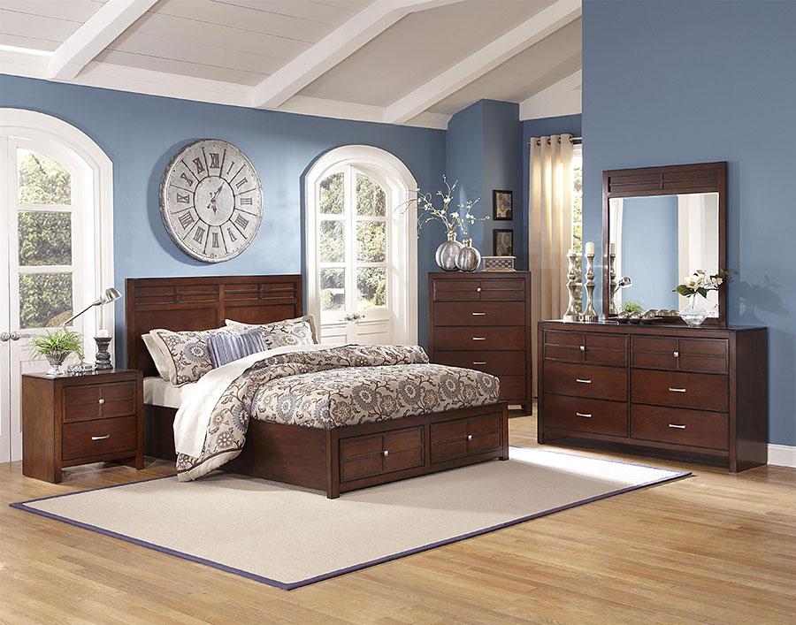 Idee per pareti blu per camera da letto con mobili scuri n.04