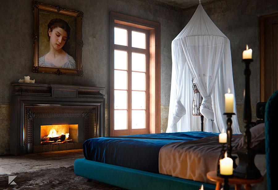 Idee per pareti grigie per camera da letto con mobili scuri n.02