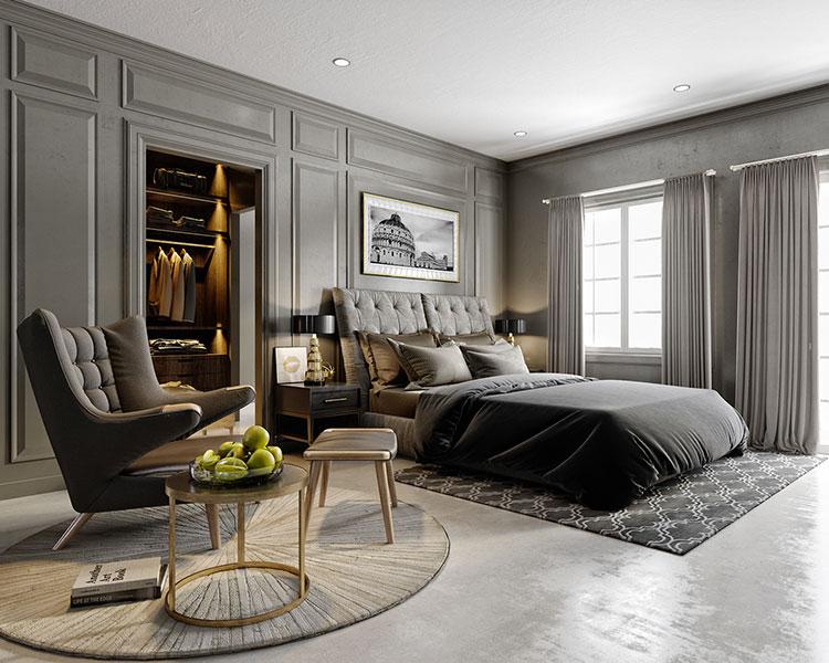 Idee per pareti grigie per camera da letto con mobili scuri n.04