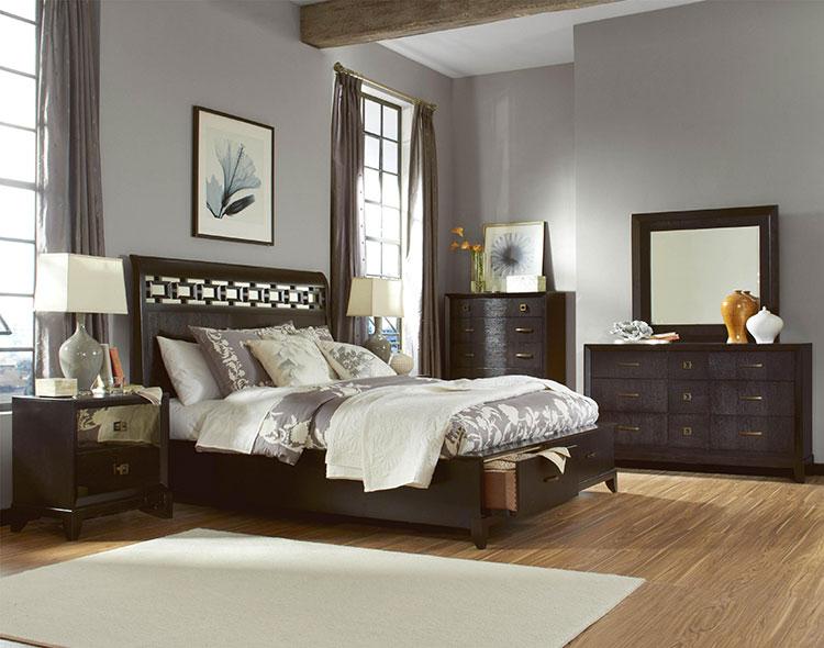 Idee per pareti grigie per camera da letto con mobili scuri n.06