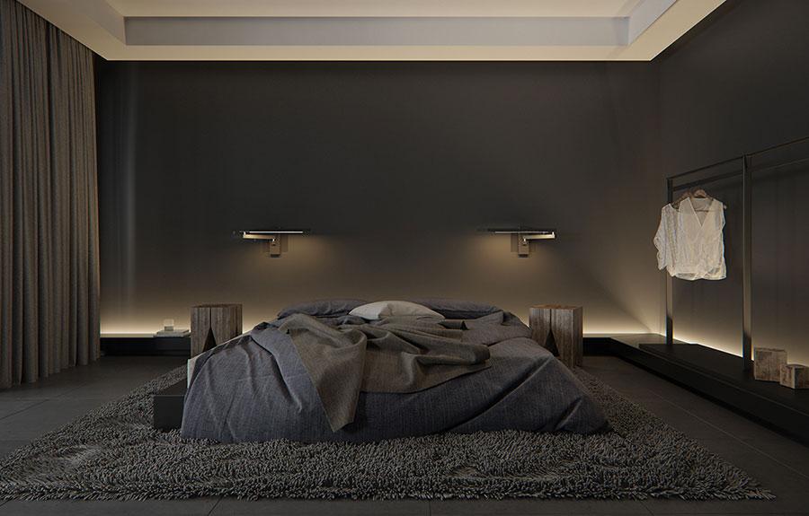 Idee per pareti marroni per camera da letto con mobili scuri n.01