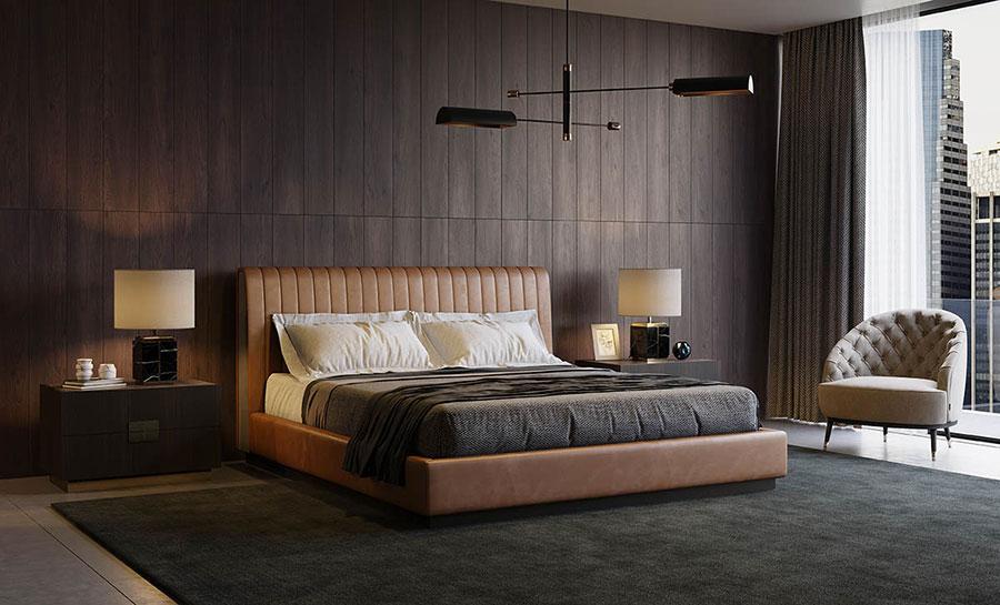 Idee per pareti marroni per camera da letto con mobili scuri n.04