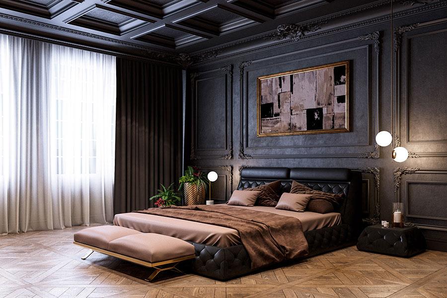 Idee per pareti nere per camera da letto con mobili scuri n.01
