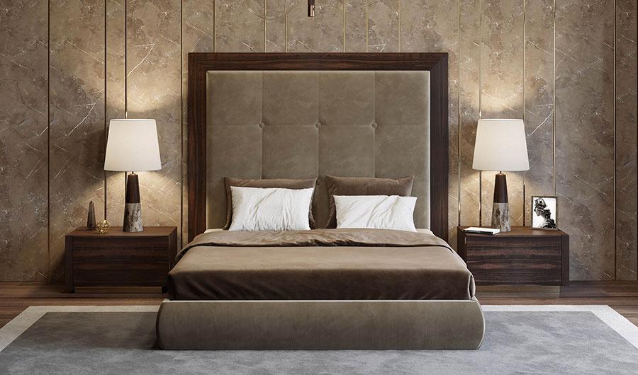 Idee per pareti tortora per camera da letto con mobili scuri n.02