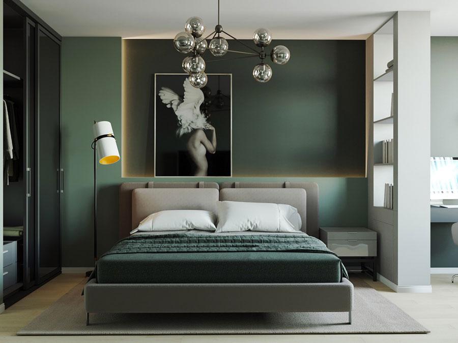 Idee per pareti verdi per camera da letto con mobili scuri n.01