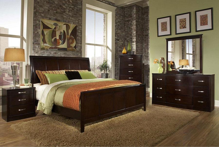 Idee per pareti verdi per camera da letto con mobili scuri n.02