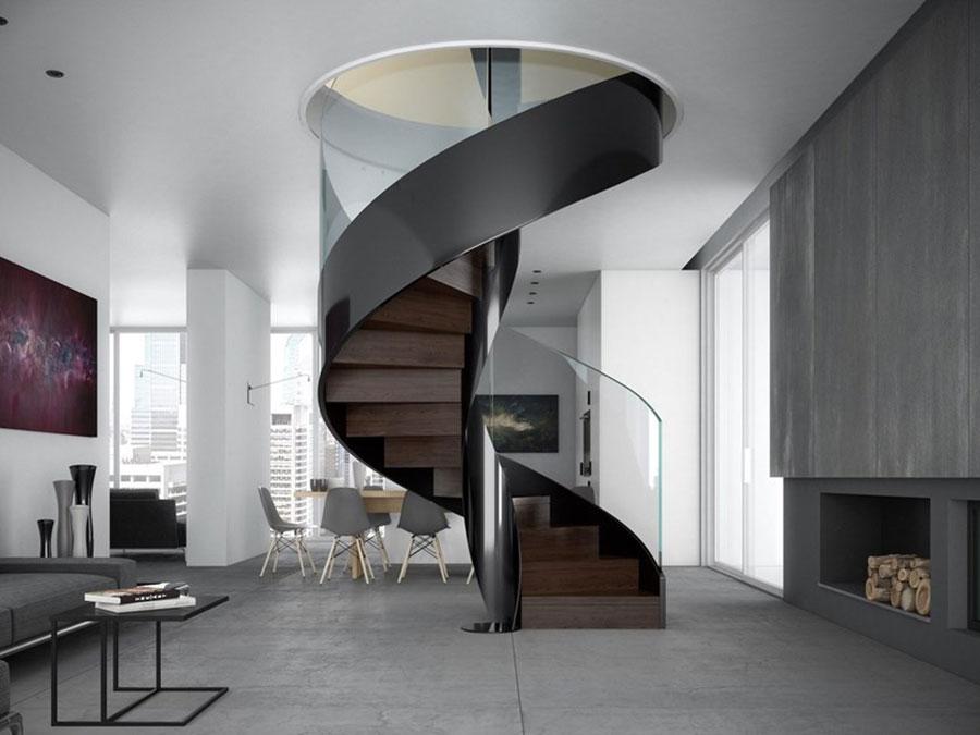 Modello di scala interna in ferro e legno n.01