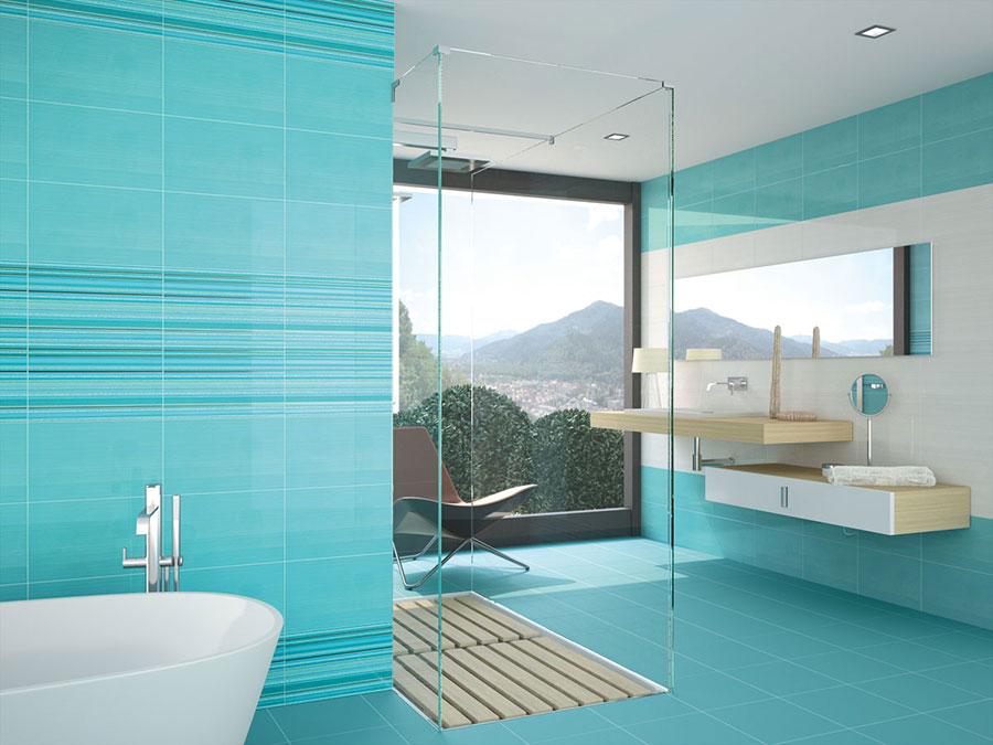 Idee per bagno di colore azzurro n.14