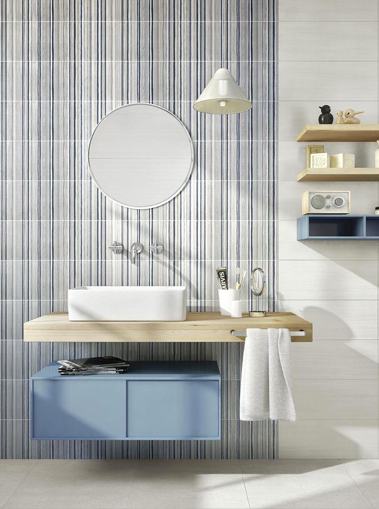 Piastrelle per bagno beige e blu n.04